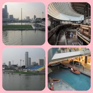 Kiri : Lapangan bola di air Kanan : Marina Bay Mall