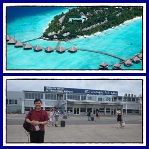 Atas : pulau Rannalhi dari udara Bawah : airport mungil & sederhana